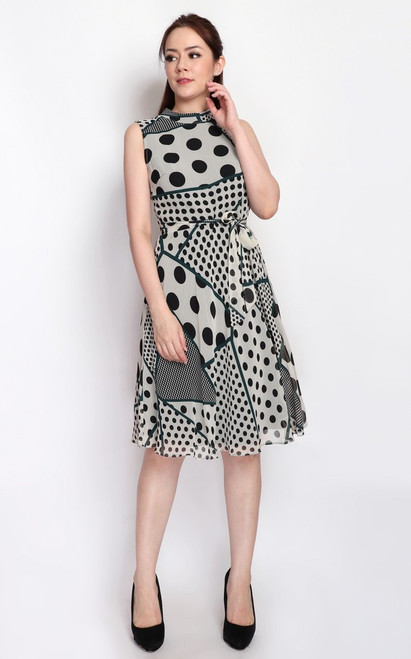 Mosaic Polka Dot Dress - Grey