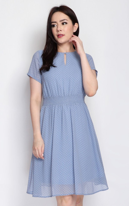 Polka Dot Keyhole Dress - Baby Blue