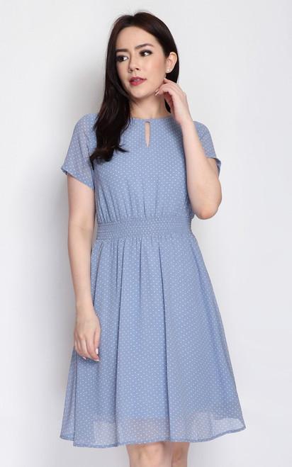Polka Dot Keyhole Dress - Baby Blue