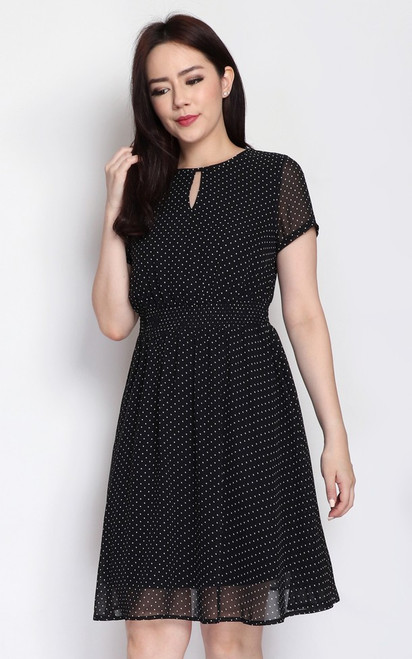 Polka Dot Keyhole Dress - Black