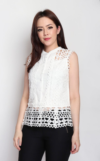 Crochet Button-up Top - White