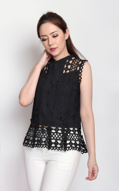 Crochet Button-up Top - Black