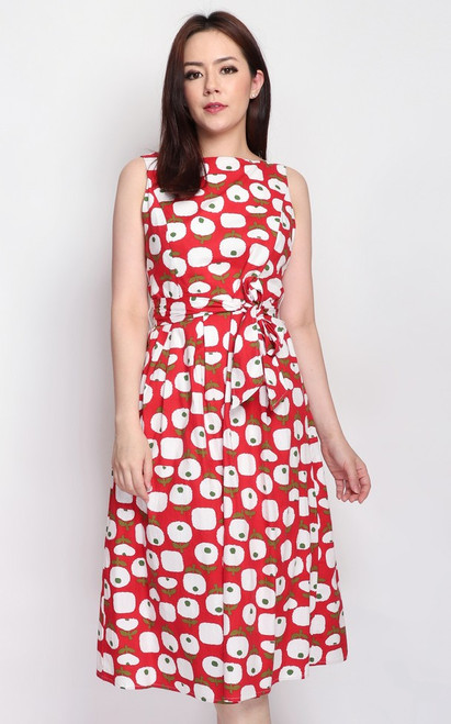 Printed Boat Neck Dress - Red
