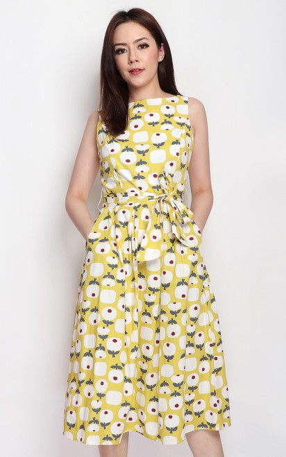 Printed Boat Neck Dress - Yellow