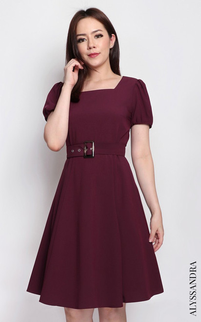 Square Neck Flare Dress - Wine