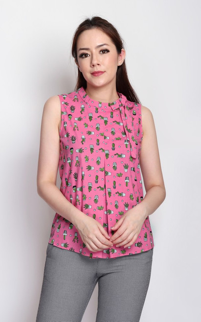Cactus Print Bow Top - Pink