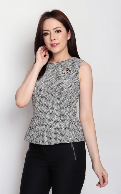 Tweed Demi Peplum Top