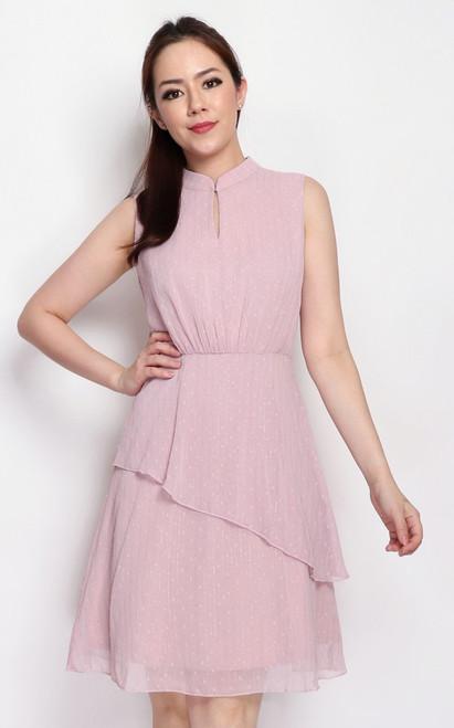 Mandarin Collar Tiered Dress - Dusty Pink