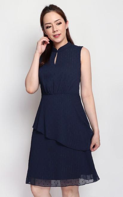 Mandarin Collar Tiered Dress - Navy