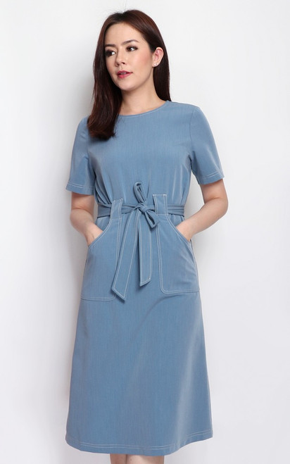 Contrast Stitch Pockets Dress - Blue
