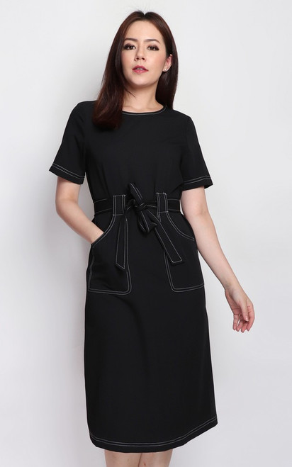 Contrast Stitch Pockets Dress - Black