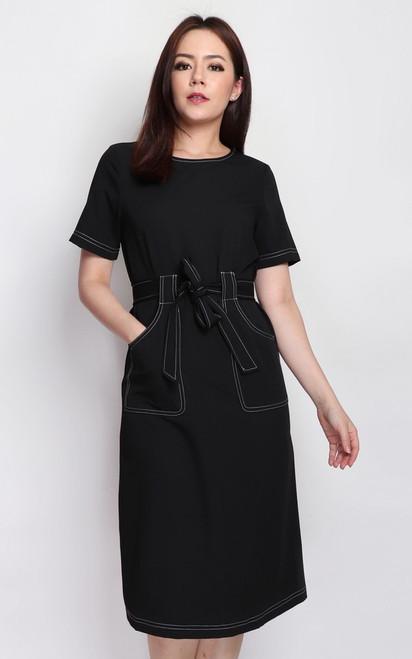 Contrast Stitch Pockets Dress - Black