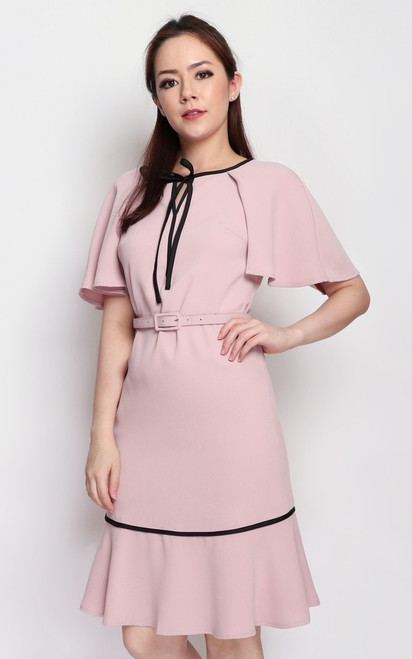 Cape Dress - Dusty Pink