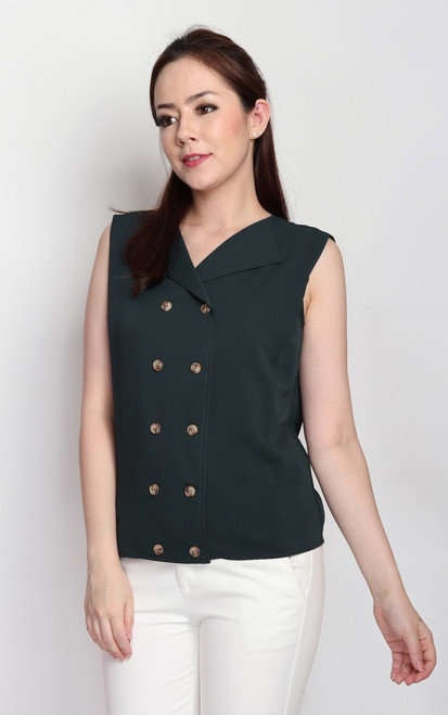 Double Breasted Top - Forest Green