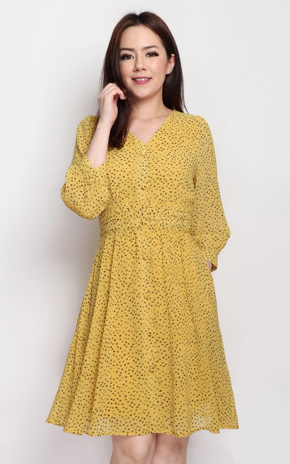 Dotted Flare Dress - Marigold