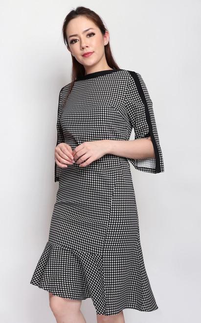 Asymmetrical Houndstooth Dress