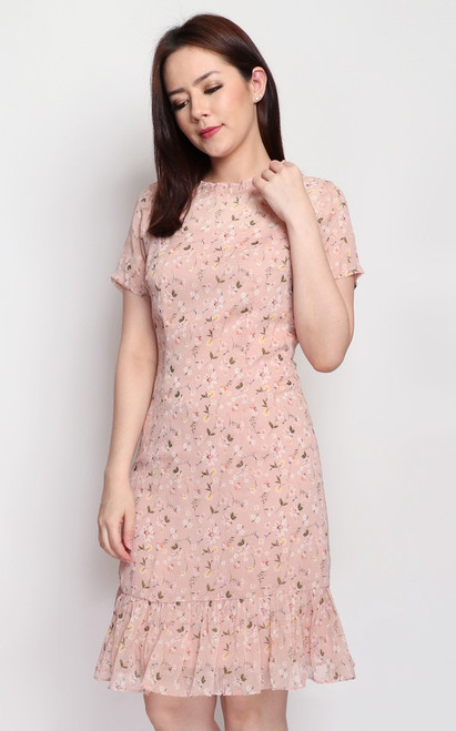 Floral Ruffle Hem Dress - Peach Pink