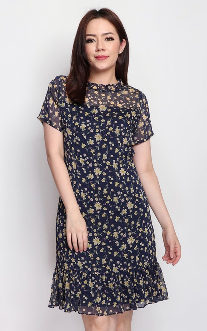 Floral Ruffle Hem Dress - Navy