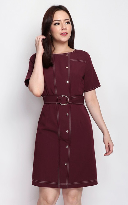 Contrast Stitch Buttons Dress - Burgundy