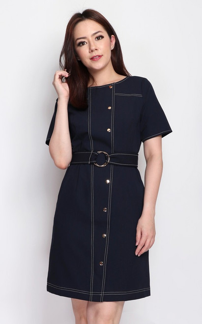 Contrast Stitch Buttons Dress - Navy
