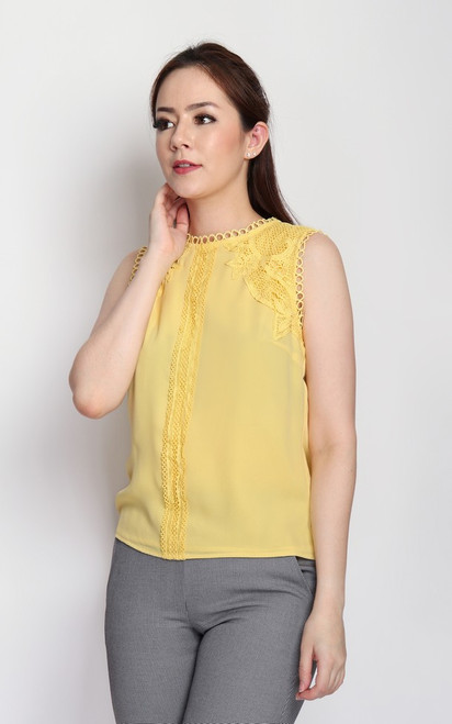 Crochet Lace Detail Top - Buttercup