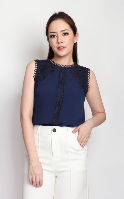 Crochet Lace Detail Top - Navy