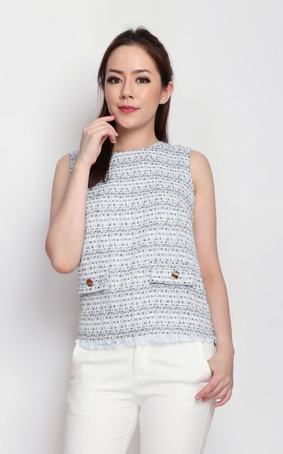 Tweed Top - Blue