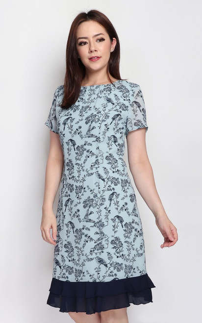 Botanical Print Dress - Duck Egg Blue