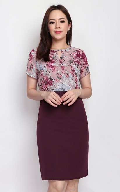 Floral Keyhole Top Dress - Plum