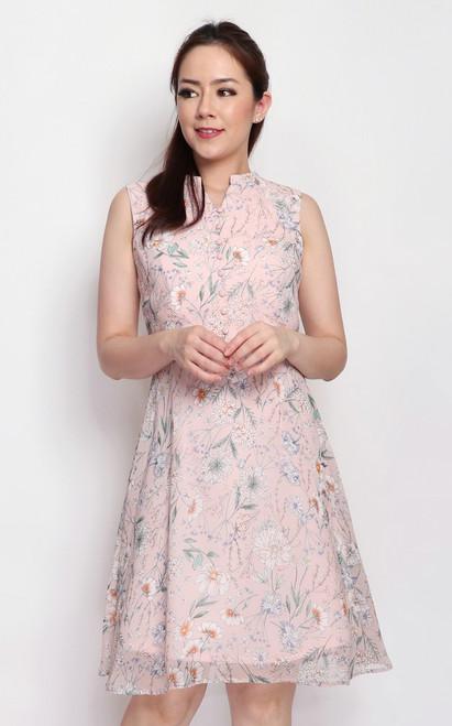 Floral Buttons Dress - Pink