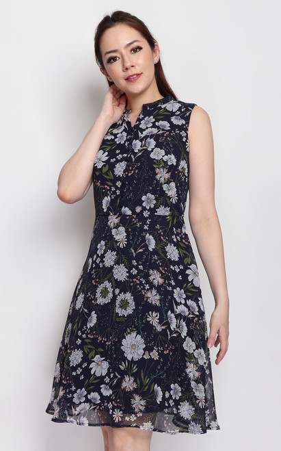 Floral Buttons Dress - Navy