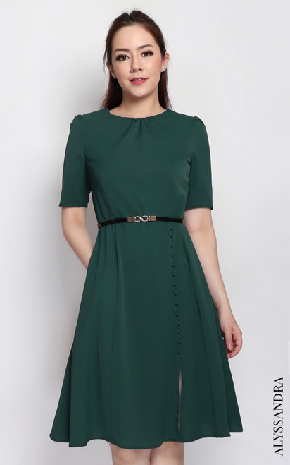 Side Buttons Flare Dress - Forest Green