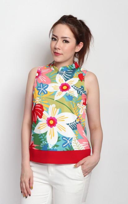 Floral Cheongsam Top