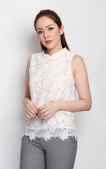 Crochet Lace Cheongsam Top - White