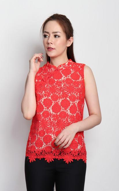 Crochet Lace Cheongsam Top - Vermillion