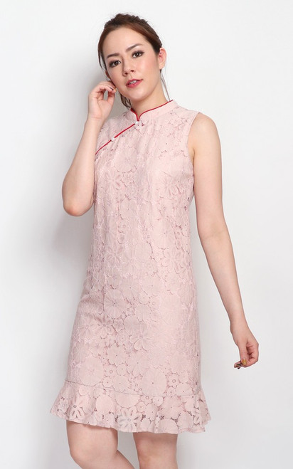 Lace Drop Waist Cheongsam - Dusty Pink