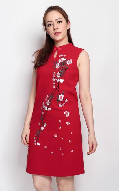 Embroidered Sakura Cheongsam - Red
