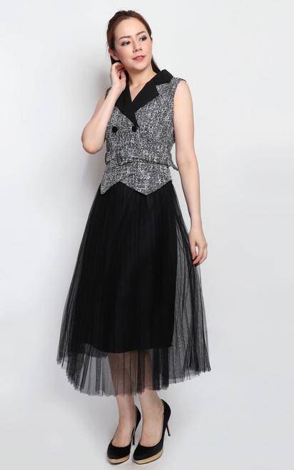 Tweed Top Tulle Dress