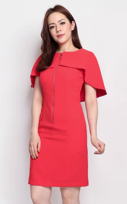 Zipper Cape Dress - Vermillion