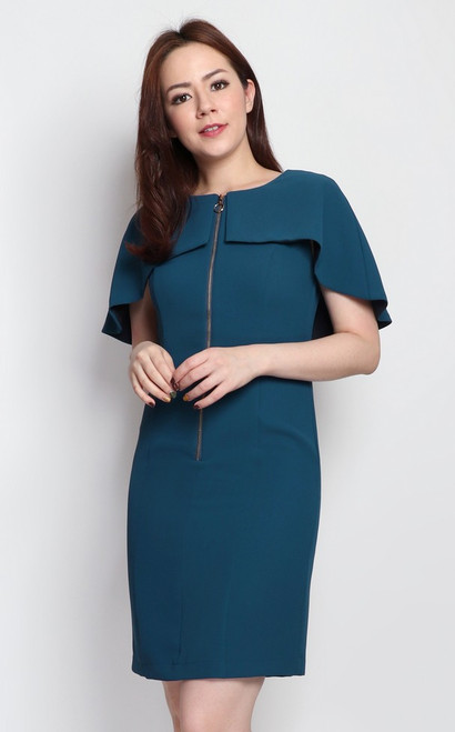 Zipper Cape Dress - Petrol Blue