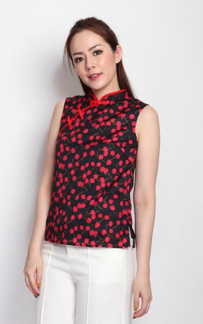 Cherry Print Cheongsam Top - Black