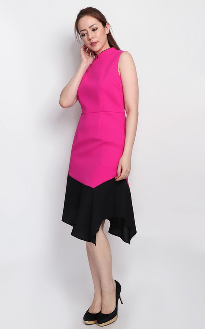 Colourblock Cheongsam - Magenta