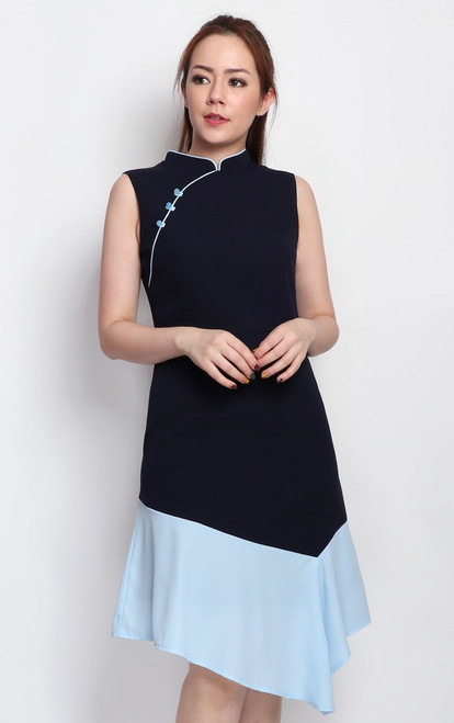 Colourblock Cheongsam - Navy