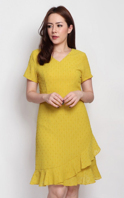 Asymmetrical Ruffle Hem Dress - Marigold