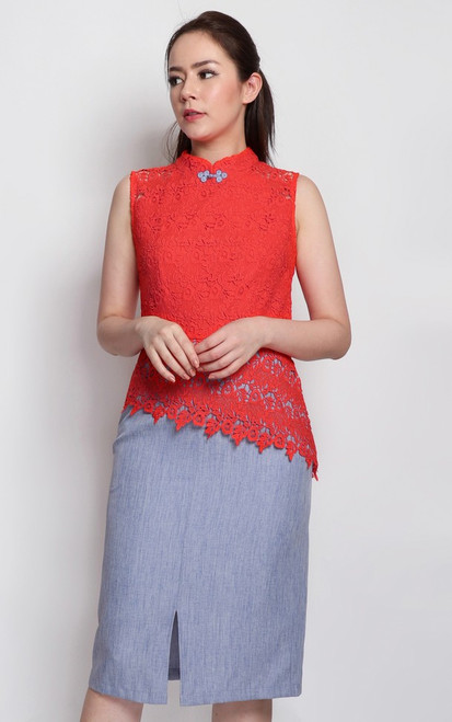 Asymmetrical Lace Top Cheongsam - Vermillion