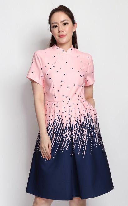 Gradient Print Cheongsam - Pink