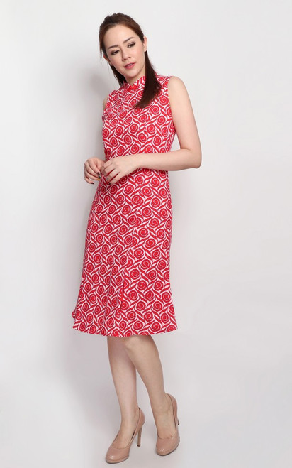 Printed Cheongsam - Red