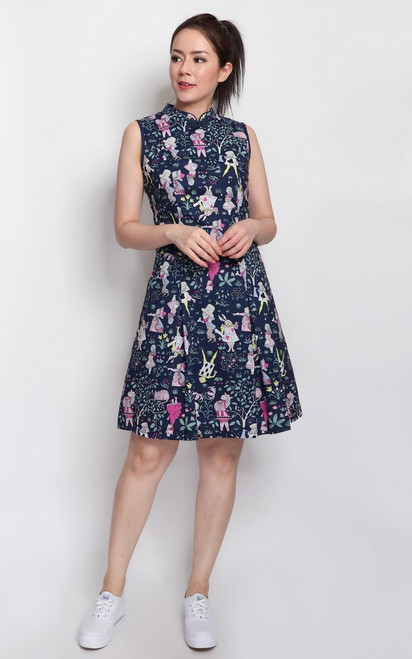 Alice In Wonderland Cheongsam - Navy