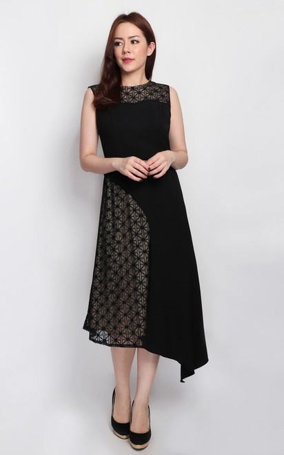 Asymmetrical Overlay Midi Dress