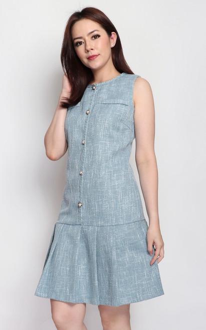 Tweed Drop Waist Dress - Dusty Blue